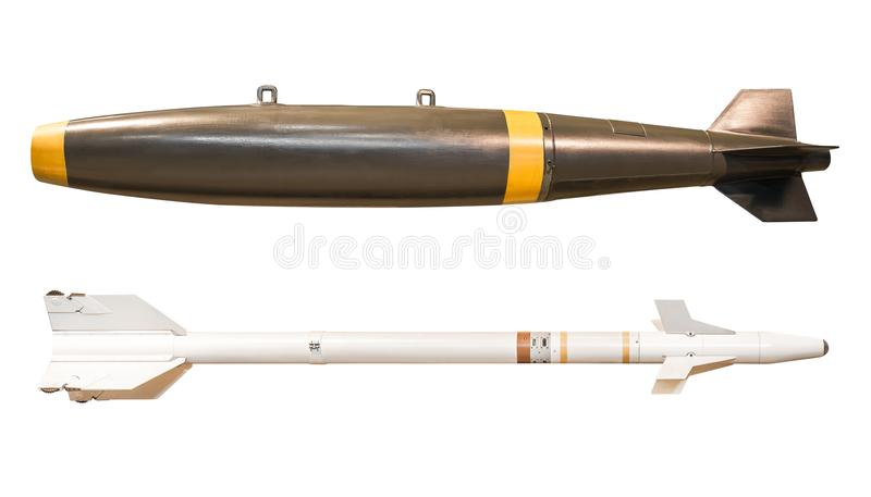Missile balistico isolato fotografia stock