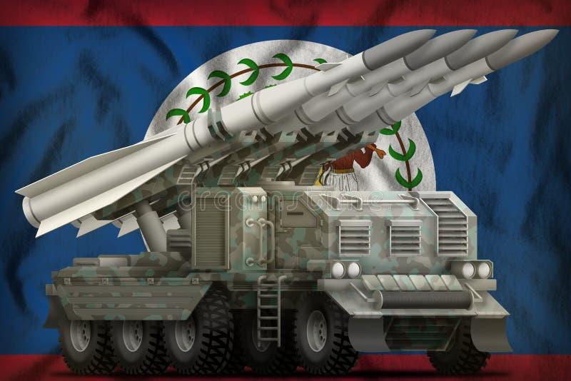 Missile balistique à courte portée tactique avec le camouflage arctique sur le fond de drapeau national de Belize illustration 3D illustration libre de droits