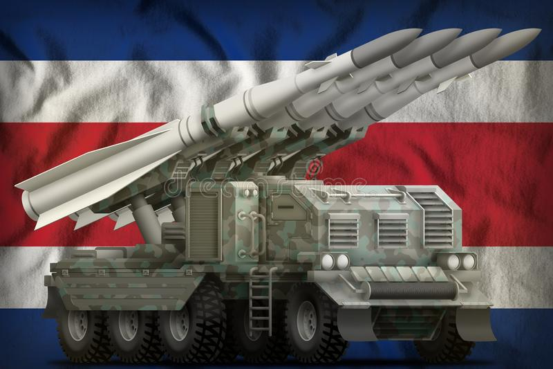 Missile balistique ? courte port?e tactique avec le camouflage arctique sur le fond de drapeau national de Costa Rica illustratio illustration de vecteur