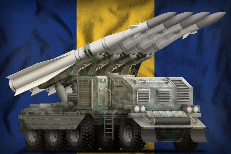 Missile balistique à courte portée tactique avec le camouflage arctique sur le fond de drapeau national des Barbade illustration  illustration stock
