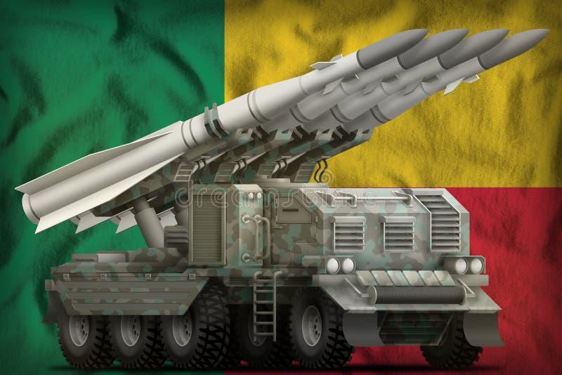 Missile balistique à courte portée tactique avec le camouflage arctique sur le fond de drapeau national du Bénin illustration 3D illustration de vecteur
