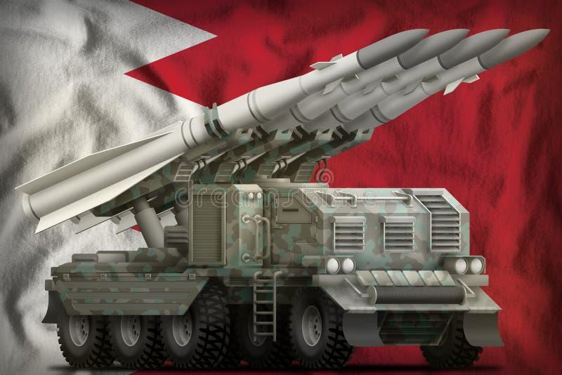 Missile balistique à courte portée tactique avec le camouflage arctique sur le fond de drapeau national du Bahrain illustration 3 illustration libre de droits