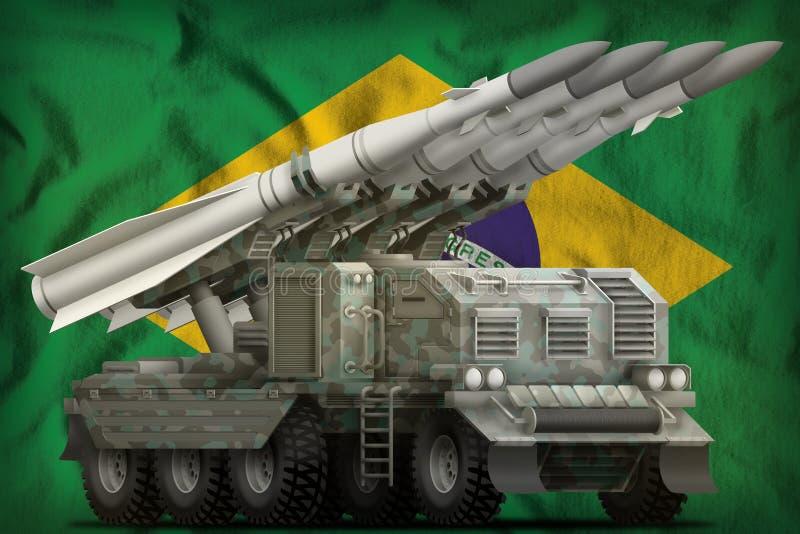 Missile balistique à courte portée tactique avec le camouflage arctique sur le fond de drapeau national du Brésil illustration 3D illustration stock