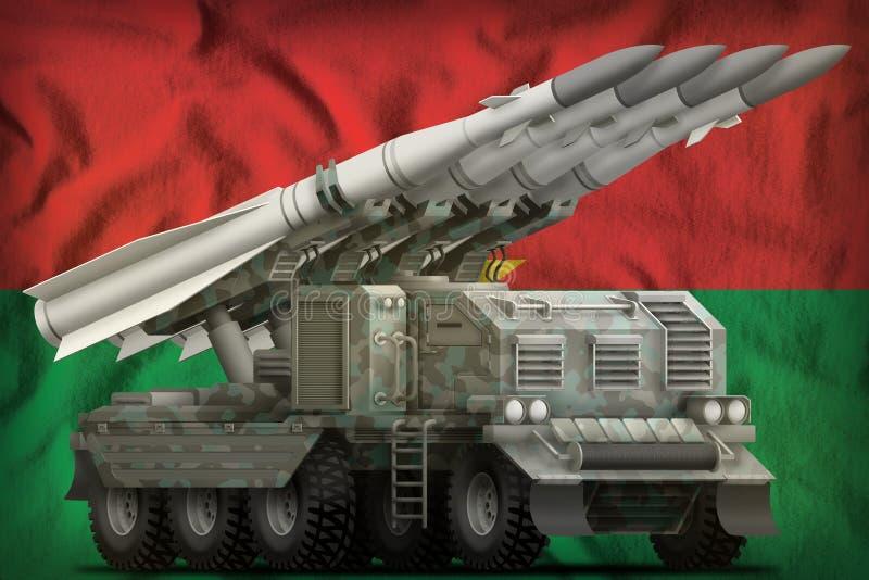 Missile balistique à courte portée tactique avec le camouflage arctique sur le fond de drapeau national du Burkina Faso illustrat illustration libre de droits