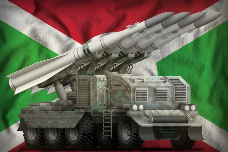 Missile balistique à courte portée tactique avec le camouflage arctique sur le fond de drapeau national du Burundi illustration 3 illustration de vecteur