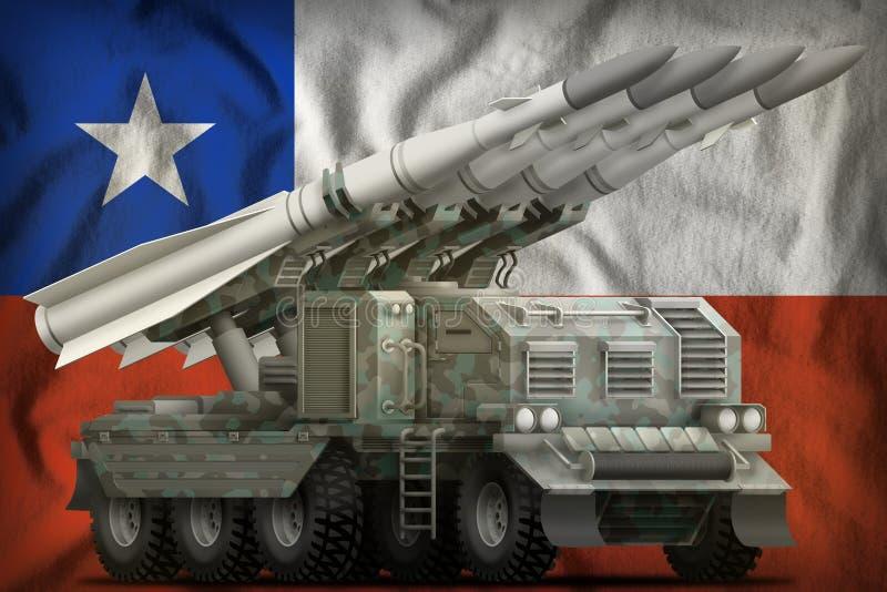 Missile balistique à courte portée tactique avec le camouflage arctique sur le fond de drapeau national du Chili illustration 3D illustration de vecteur