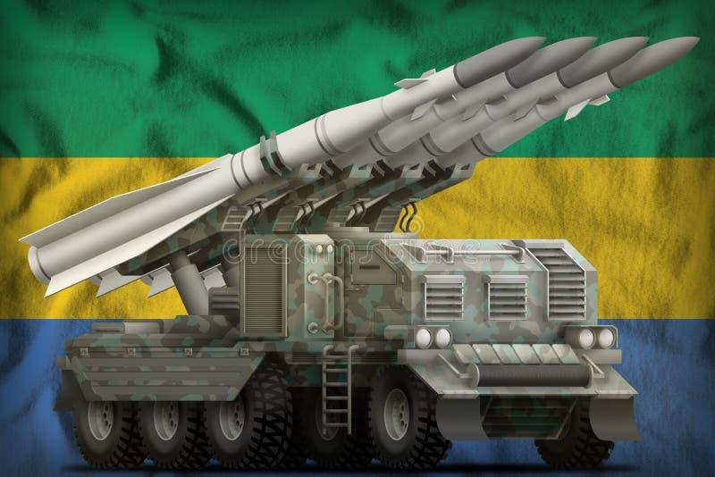 Missile balistique à courte portée tactique avec le camouflage arctique sur le fond de drapeau national du Gabon illustration 3D illustration de vecteur