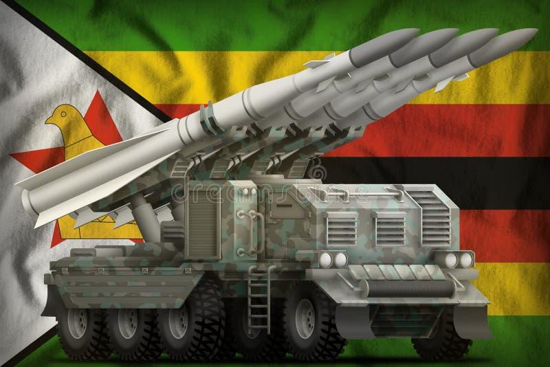 Missile balistique à courte portée tactique avec le camouflage arctique sur le fond de drapeau national du Zimbabwe illustration  illustration libre de droits