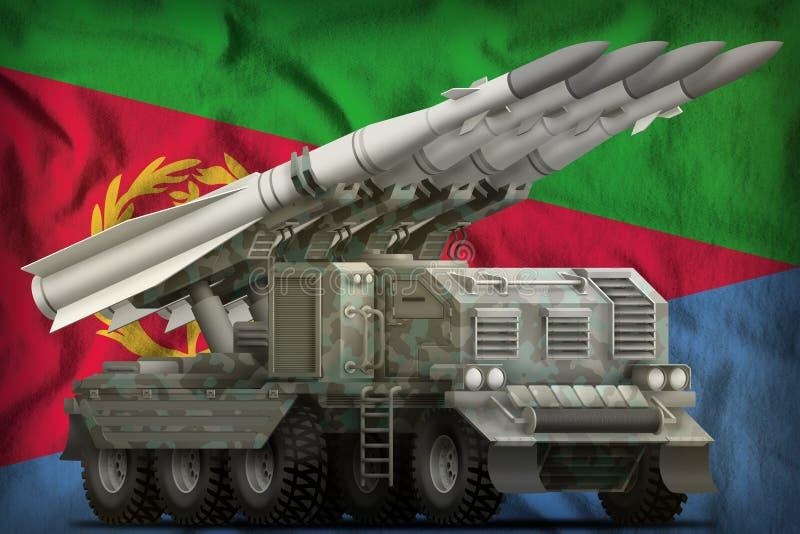 Missile balistique à courte portée tactique avec le camouflage arctique sur le fond de drapeau national de l'Érythrée illustratio illustration de vecteur