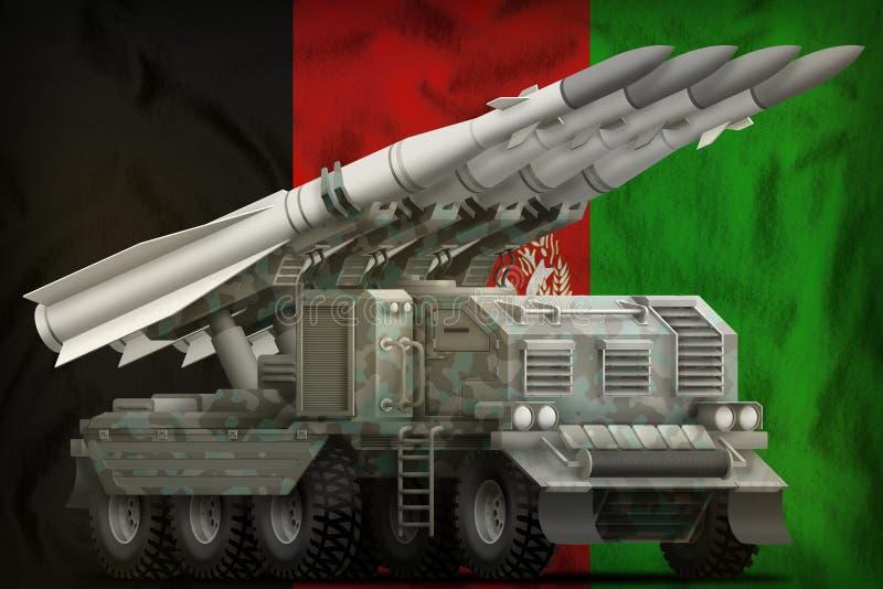 Missile balistique à courte portée tactique avec le camouflage arctique sur le fond de drapeau national de l'Afghanistan illustra illustration libre de droits