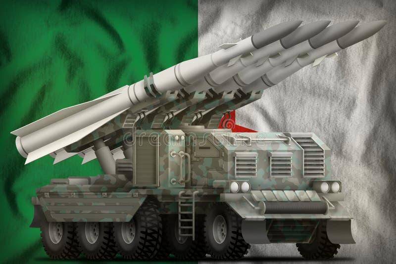 Missile balistique ? courte port?e tactique avec le camouflage arctique sur le fond de drapeau national de l'Alg?rie illustration illustration stock