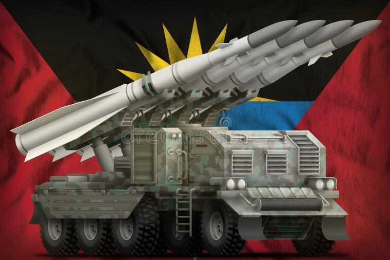 Missile balistique à courte portée tactique avec le camouflage arctique sur le fond de drapeau national de l'Antigua-et-Barbuda i illustration libre de droits