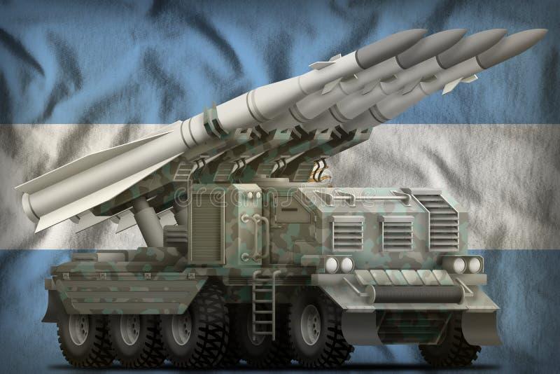 Missile balistique à courte portée tactique avec le camouflage arctique sur le fond de drapeau national de l'Argentine illustrati illustration de vecteur