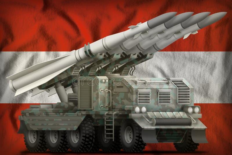 Missile balistique à courte portée tactique avec le camouflage arctique sur le fond de drapeau national de l'Autriche illustratio illustration libre de droits