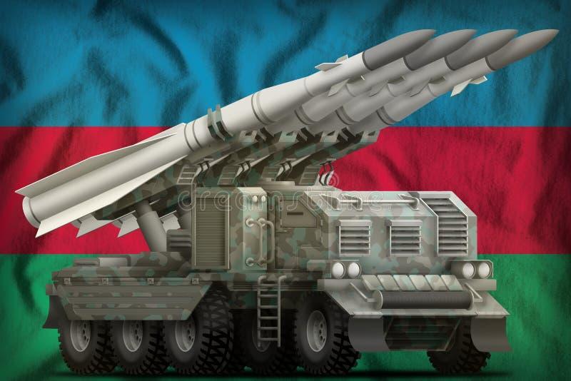 Missile balistique à courte portée tactique avec le camouflage arctique sur le fond de drapeau national de l'Azerbaïdjan illustra illustration libre de droits