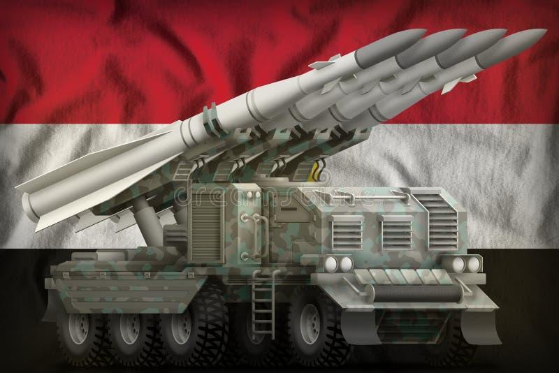 Missile balistique à courte portée tactique avec le camouflage arctique sur le fond de drapeau national de l'Egypte illustration  illustration libre de droits