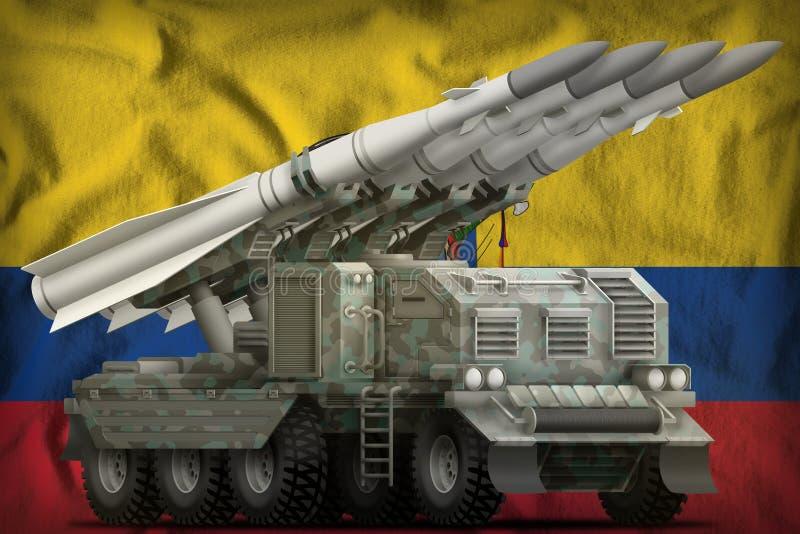 Missile balistique à courte portée tactique avec le camouflage arctique sur le fond de drapeau national de l'Equateur illustratio illustration libre de droits