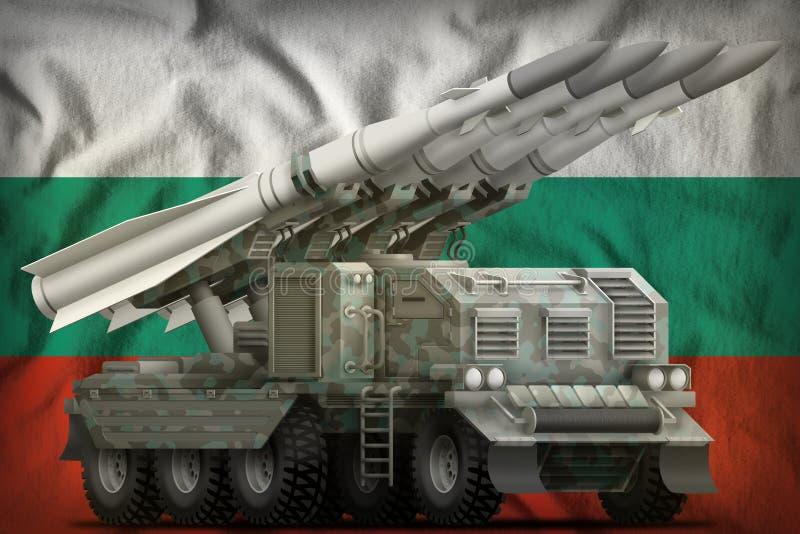 Missile balistique à courte portée tactique avec le camouflage arctique sur le fond de drapeau national de la Bulgarie illustrati illustration stock