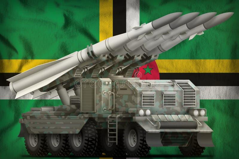 Missile balistique ? courte port?e tactique avec le camouflage arctique sur le fond de drapeau national de la Dominique illustrat illustration stock