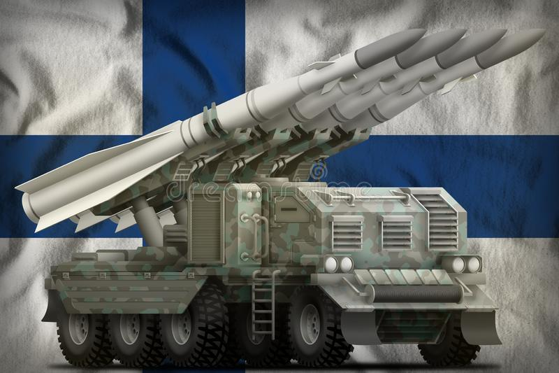 Missile balistique à courte portée tactique avec le camouflage arctique sur le fond de drapeau national de la Finlande illustrati illustration de vecteur