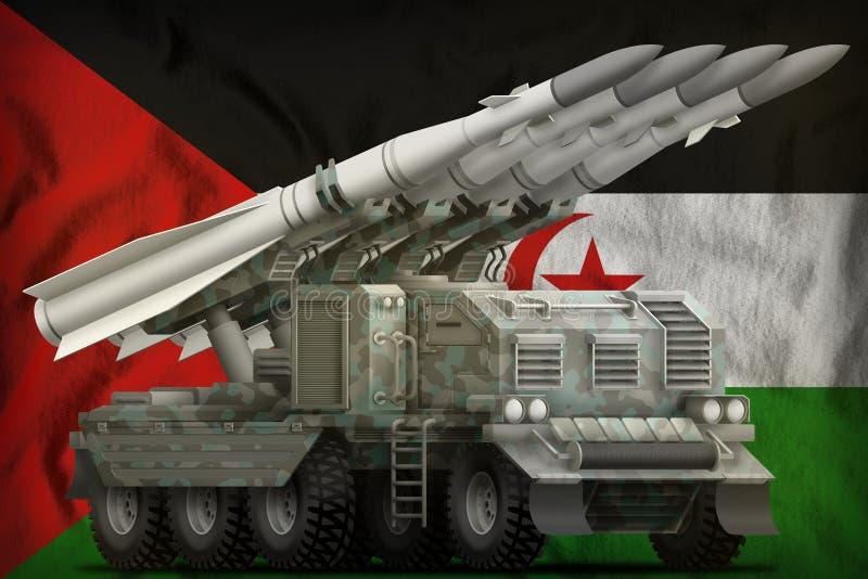 Missile balistique à courte portée tactique avec le camouflage arctique sur le fond de drapeau national de la Sahara occidental i illustration de vecteur