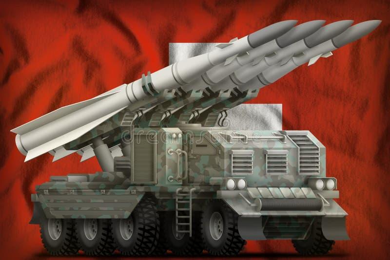 Missile balistique à courte portée tactique avec le camouflage arctique sur le fond de drapeau national de la Suisse illustration illustration libre de droits