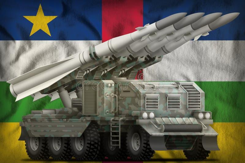 Missile balistique à courte portée tactique avec le camouflage arctique sur le fond de drapeau national de République Centrafrica illustration stock