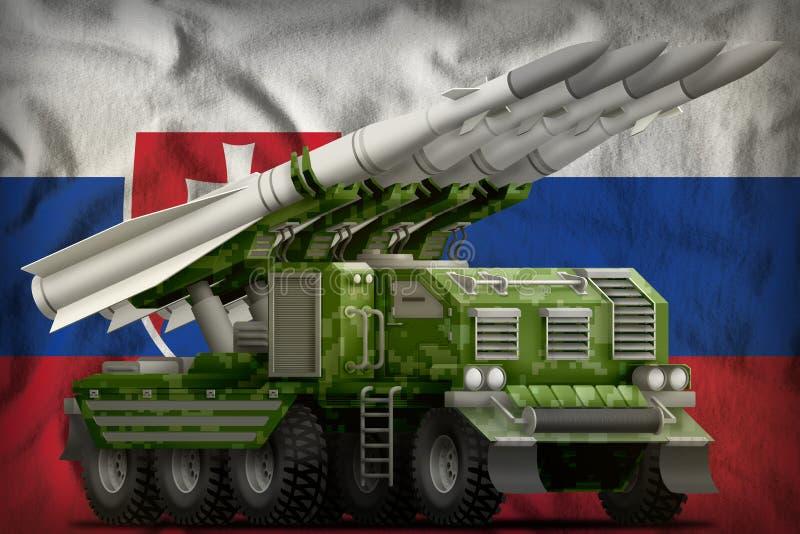 Missile balistique à courte portée tactique avec le camouflage de forêt de pixel sur le fond de drapeau national de la Slovaquie  illustration libre de droits