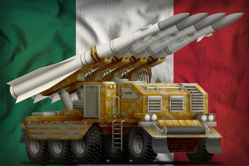 Missile balistique à courte portée tactique avec le camouflage de sable sur le fond de drapeau national du Mexique illustration 3 illustration de vecteur
