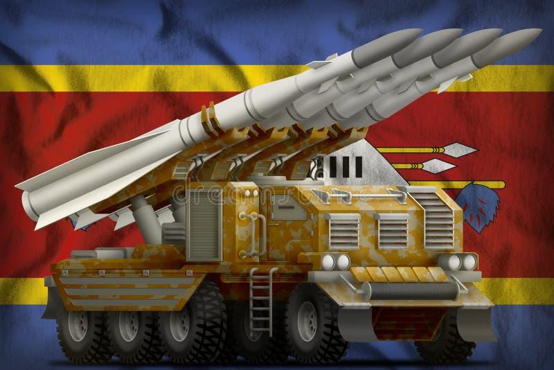 Missile balistique à courte portée tactique avec le camouflage de sable sur le fond de drapeau national du Souaziland illustratio illustration stock