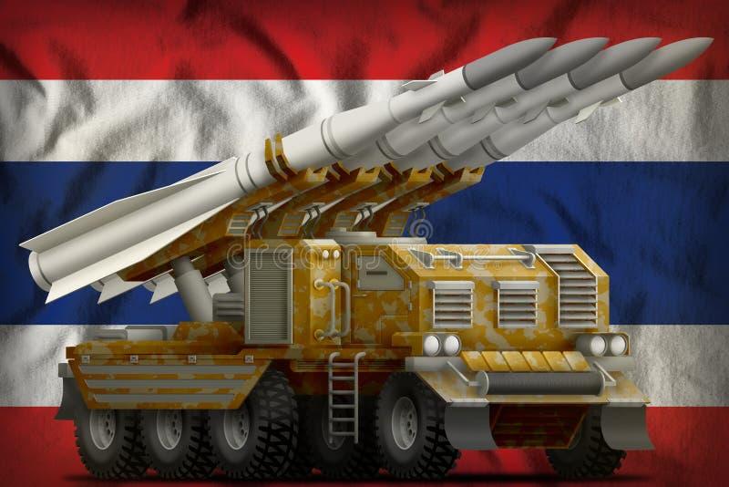 Missile balistique à courte portée tactique avec le camouflage de sable sur le fond de drapeau national de la Thaïlande illustrat illustration stock