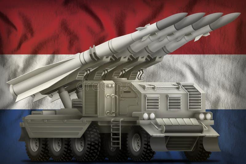 Missile balistique à courte portée tactique sur le fond néerlandais de drapeau national illustration 3D illustration stock
