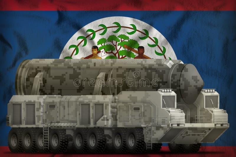 Missile balistique intercontinental avec le camouflage de ville sur le fond de drapeau national de Belize illustration 3D illustration stock