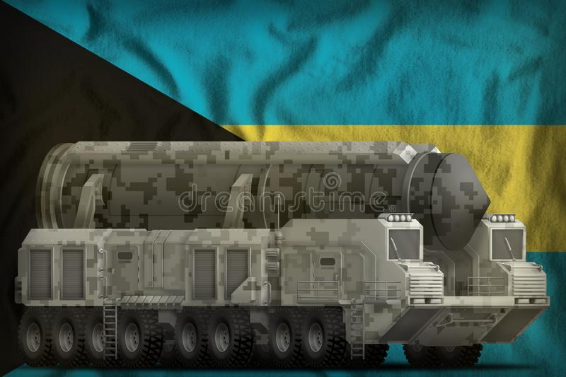 Missile balistique intercontinental avec le camouflage de ville sur le fond de drapeau national des Bahamas illustration 3D illustration de vecteur