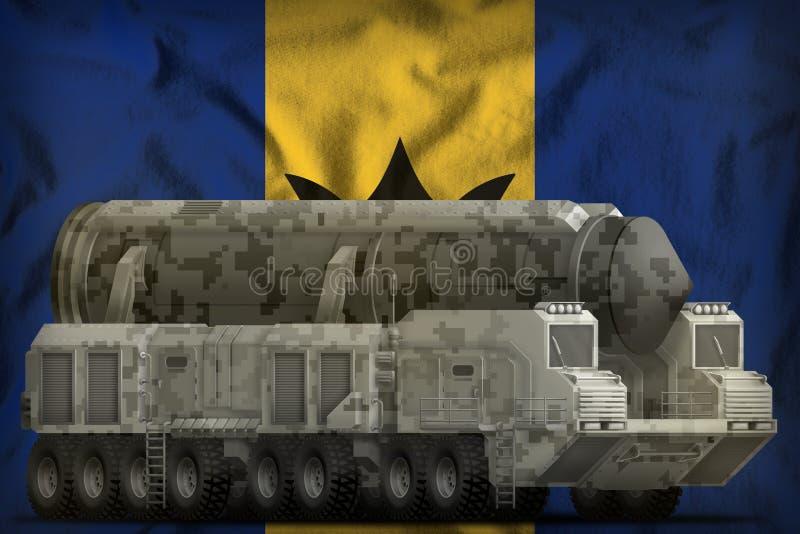 Missile balistique intercontinental avec le camouflage de ville sur le fond de drapeau national des Barbade illustration 3D illustration stock