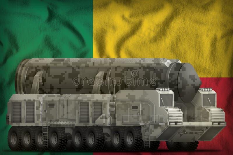 Missile balistique intercontinental avec le camouflage de ville sur le fond de drapeau national du Bénin illustration 3D illustration de vecteur