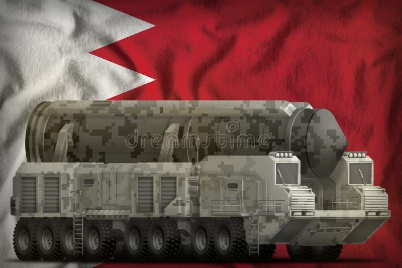 Missile balistique intercontinental avec le camouflage de ville sur le fond de drapeau national du Bahrain illustration 3D illustration libre de droits