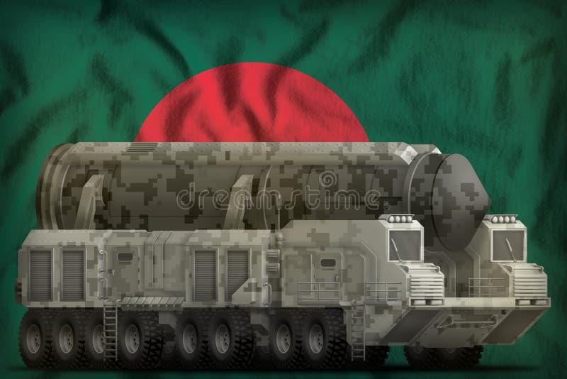 Missile balistique intercontinental avec le camouflage de ville sur le fond de drapeau national du Bangladesh illustration 3D illustration de vecteur