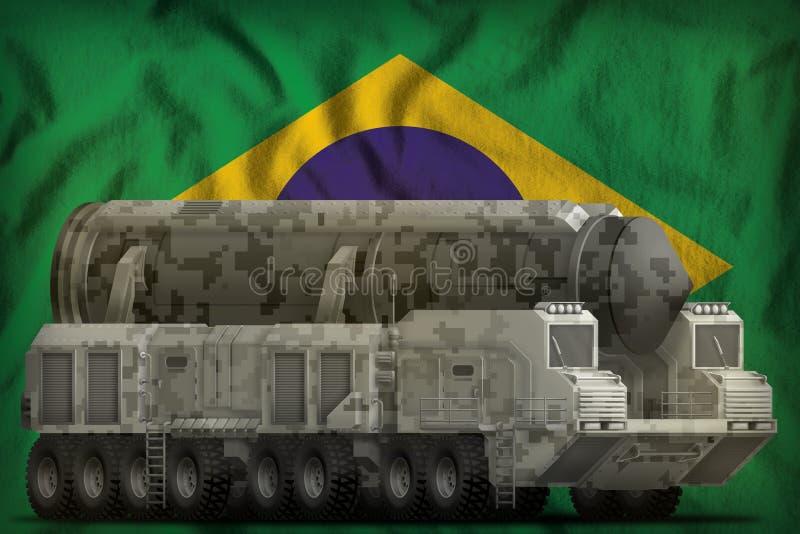 Missile balistique intercontinental avec le camouflage de ville sur le fond de drapeau national du Brésil illustration 3D illustration libre de droits