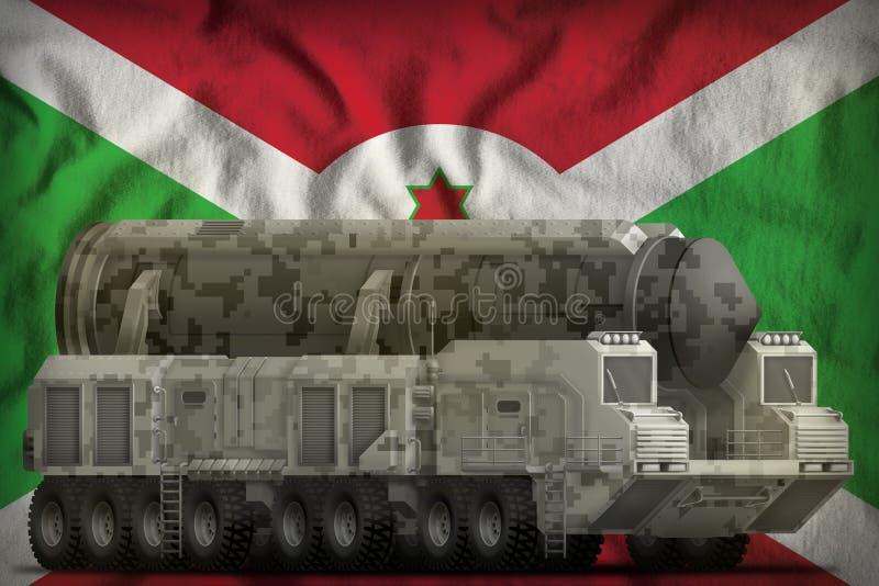 Missile balistique intercontinental avec le camouflage de ville sur le fond de drapeau national du Burundi illustration 3D illustration de vecteur