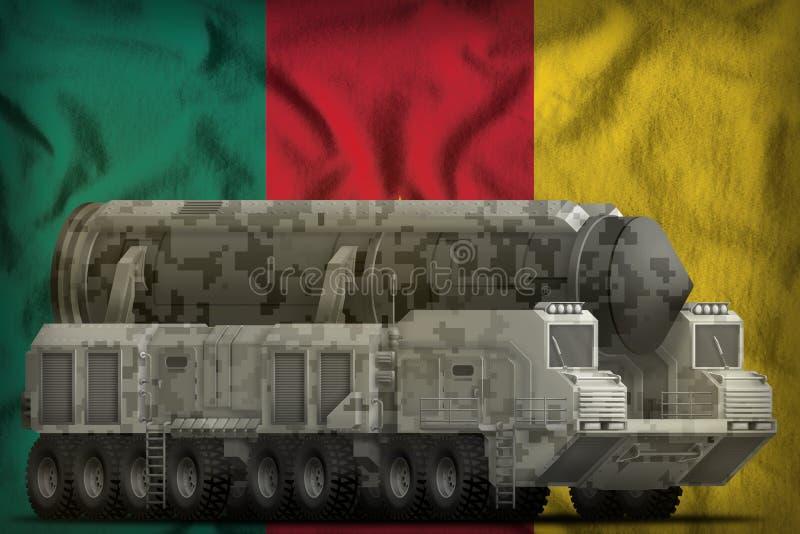 Missile balistique intercontinental avec le camouflage de ville sur le fond de drapeau national du Cameroun illustration 3D illustration libre de droits