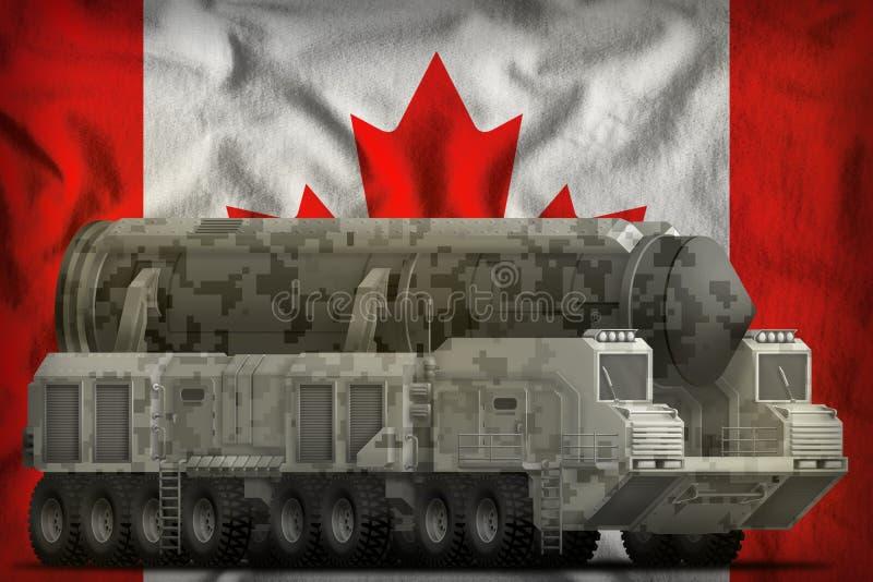 Missile balistique intercontinental avec le camouflage de ville sur le fond de drapeau national du Canada illustration 3D illustration libre de droits