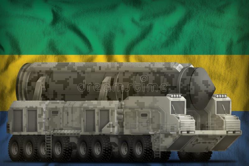 Missile balistique intercontinental avec le camouflage de ville sur le fond de drapeau national du Gabon illustration 3D illustration libre de droits