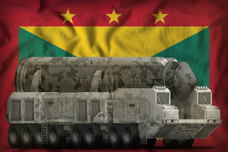 Missile balistique intercontinental avec le camouflage de ville sur le fond de drapeau national du Grenada illustration 3D illustration libre de droits