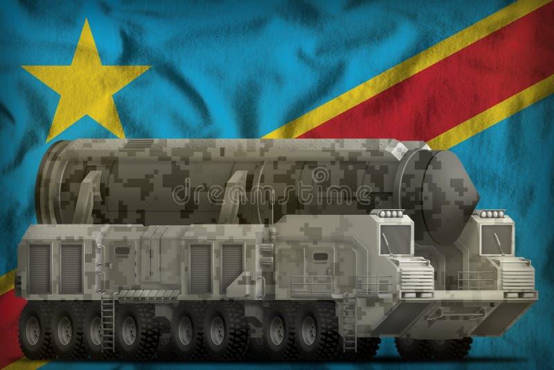 Missile balistique intercontinental avec le camouflage de ville sur le fond de drapeau national du République démocratique du Con illustration de vecteur