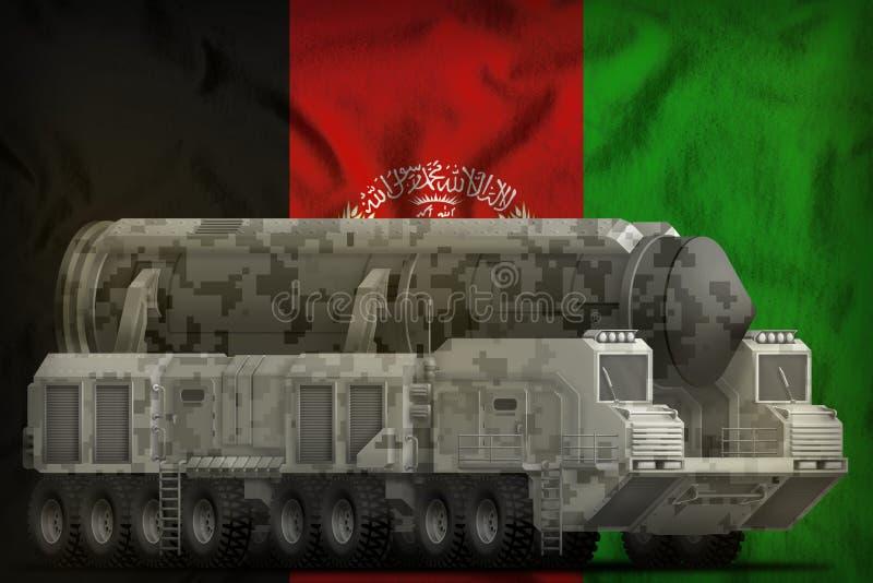 Missile balistique intercontinental avec le camouflage de ville sur le fond de drapeau national de l'Afghanistan illustration 3D illustration libre de droits