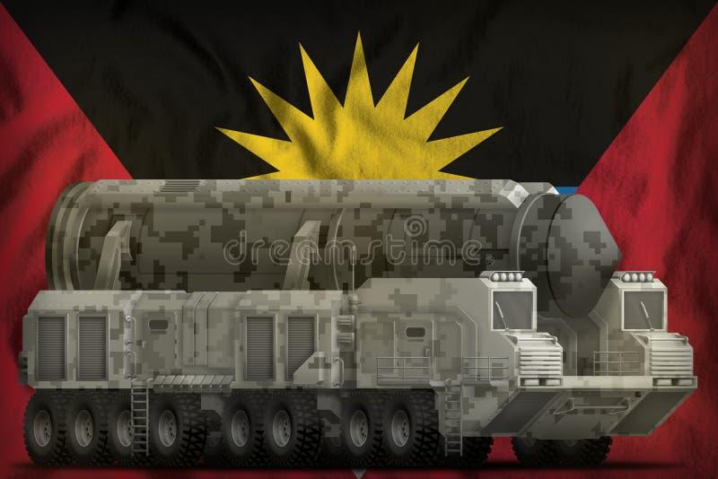 Missile balistique intercontinental avec le camouflage de ville sur le fond de drapeau national de l'Antigua-et-Barbuda illustrat illustration de vecteur
