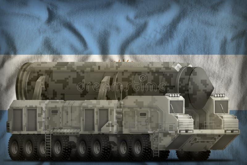 Missile balistique intercontinental avec le camouflage de ville sur le fond de drapeau national de l'Argentine illustration 3D illustration de vecteur