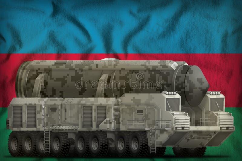 Missile balistique intercontinental avec le camouflage de ville sur le fond de drapeau national de l'Azerbaïdjan illustration 3D illustration libre de droits