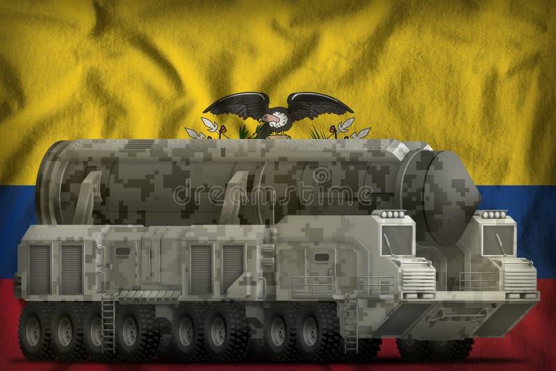 Missile balistique intercontinental avec le camouflage de ville sur le fond de drapeau national de l'Equateur illustration 3D illustration libre de droits